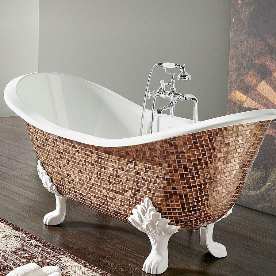 Cast Iron Bathtub In Mosaic Give A