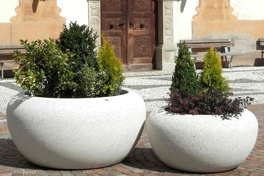GIOVE PLANTER in white granite or reconstituted marble stone - BELLITALIA