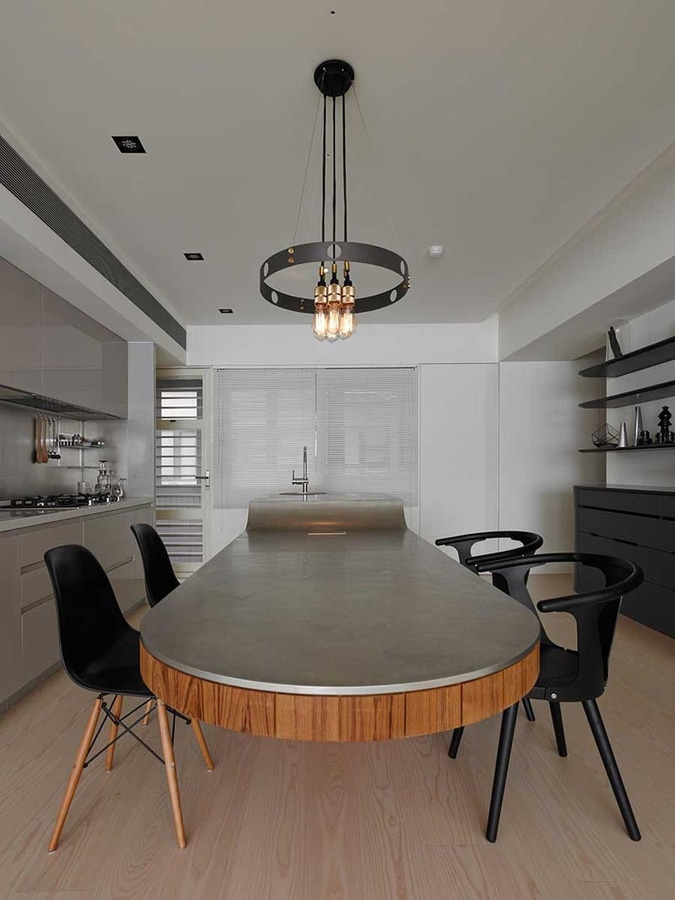Kitchen Island Idea A Multi Height Island With Cantilevered Table And Seating Taipei Taiwan