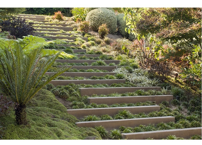 Landscape Design Idea Steps With Integrated Greenery 4201