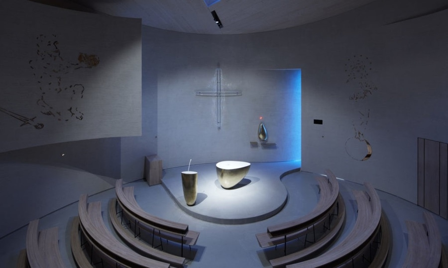 Light Glides Softly Inside This Cylindrical Modern Church In The Czech Republic Czechia
