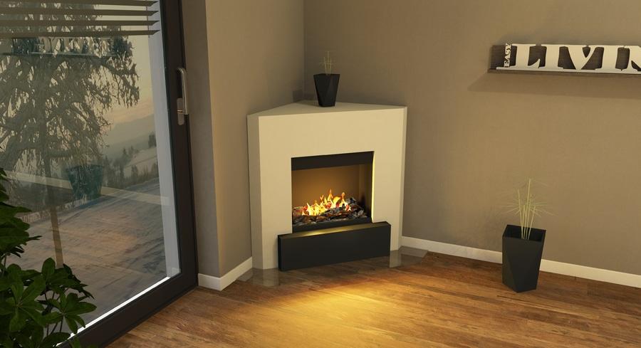 Muenkel Design Nook Electric Corner, Bio Ethanol Corner Fireplace