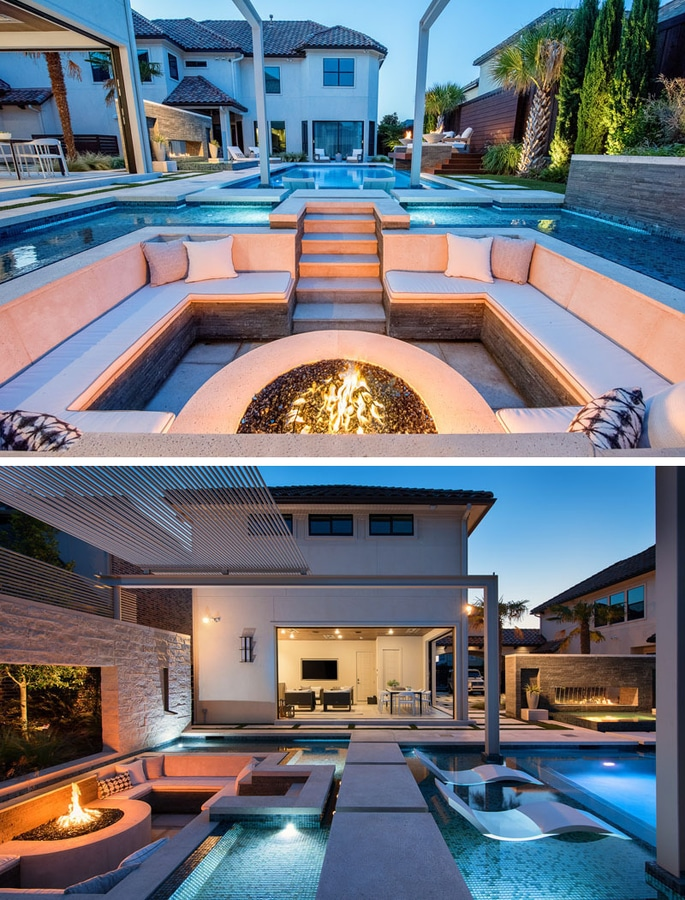 A Sunken Lounge A Cantilevered Deck And A Spa With A Fireplace Help Give This Pool A Luxurious Resort Like Feeling Milan Metropolitan City Of Milan Italy