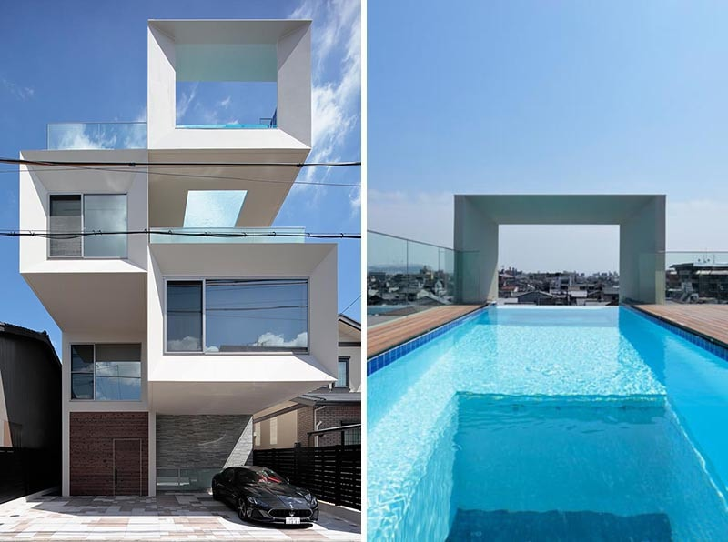 This House Has A Rooftop Swimming Pool With A Window For Views Of The Living Room Below Kyoto Japan