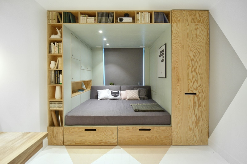 Bedroom Has A Built In Bed And Storage