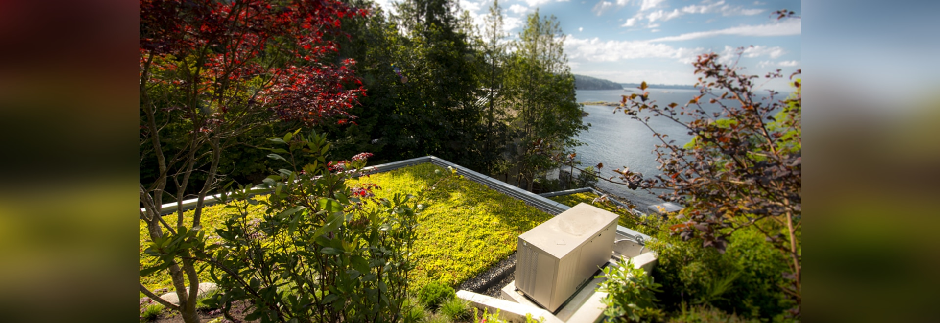 180 m² of sedum green roof are framed by the spectacular backdrop of the Pacific Ocean. Source: Brett Ryan Studios, Vancouver