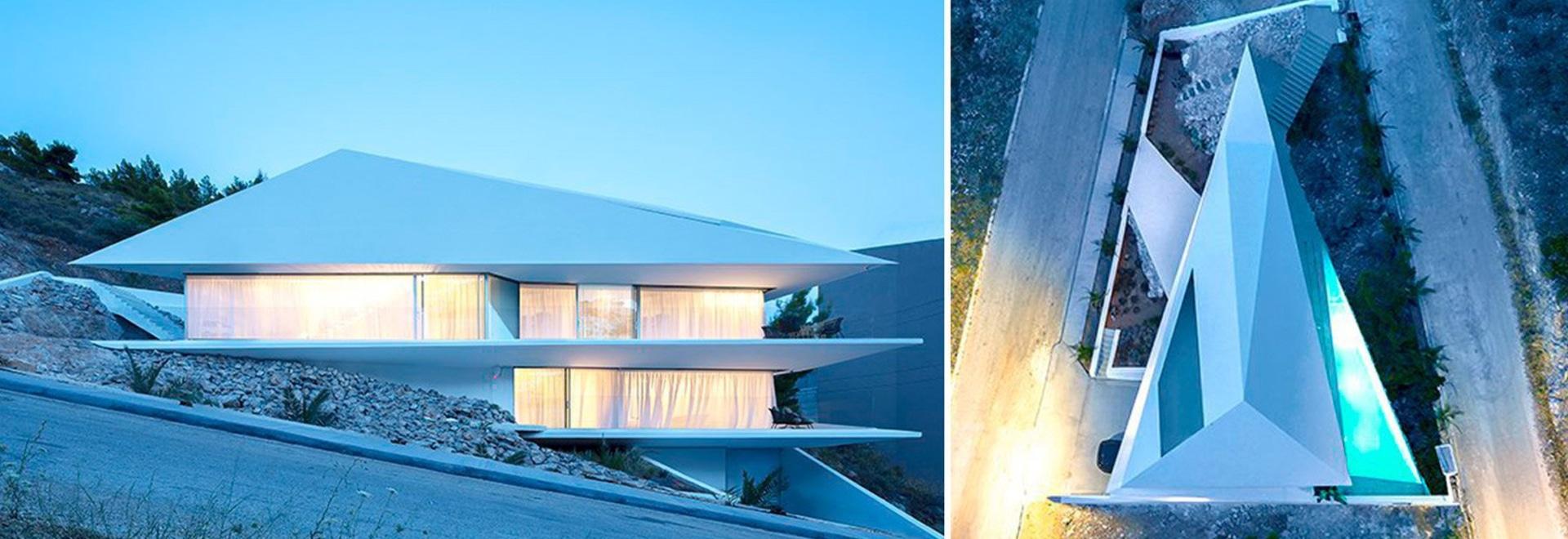 314 architecture studio folds a house like origami on the greek hillside