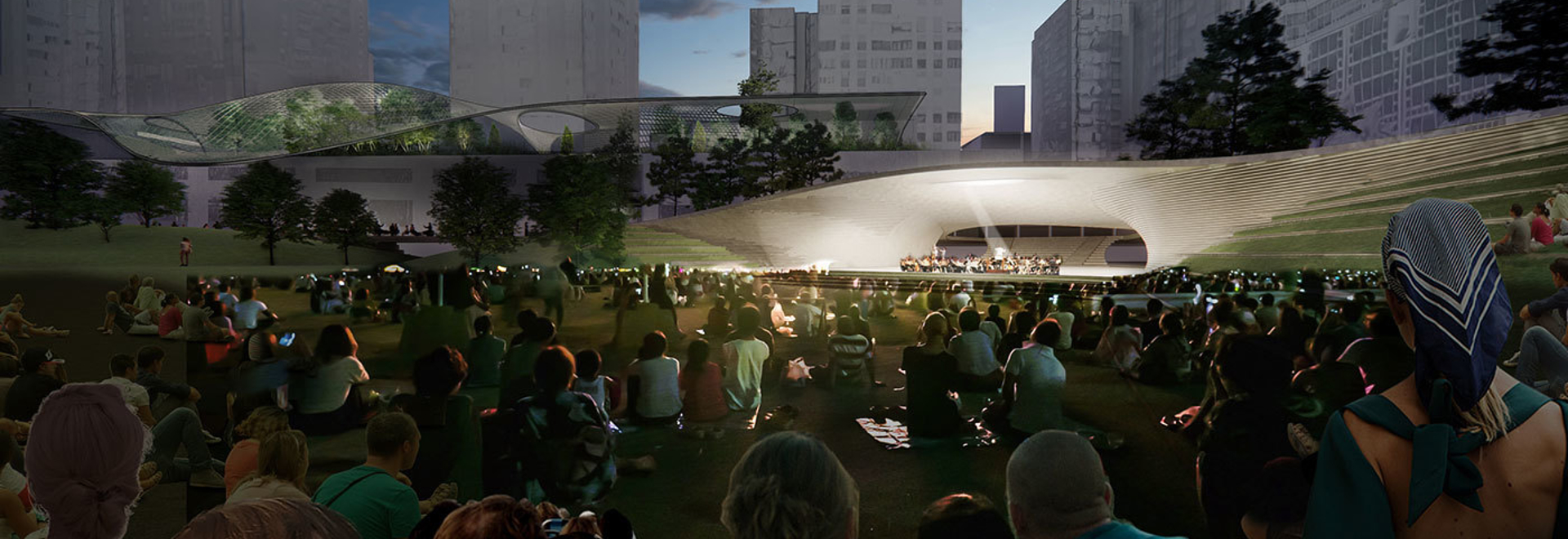 acoustic shell for events at the central green from east