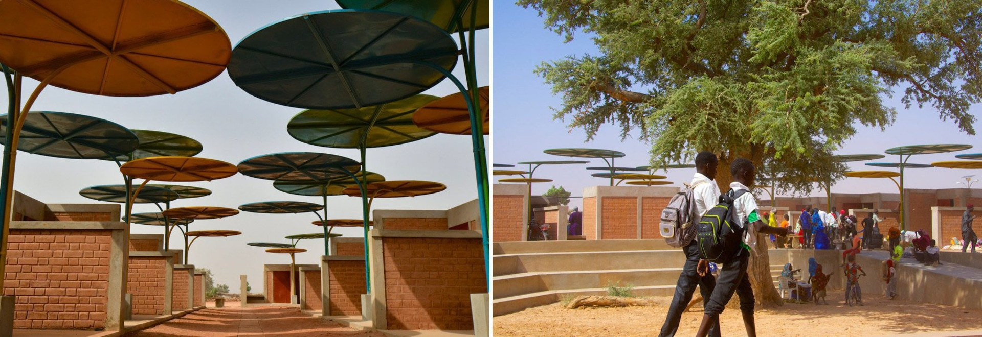 atelier masomi uses colorful metal canopies to build dandaji market in niger