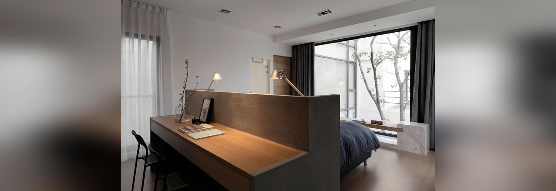 Bedroom Design Idea – A Desk Built Into The Back Of The Headboard