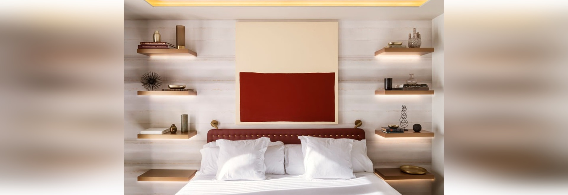 Bedroom Design Idea Replace A Bedside Table And Lamp With Floating Shelves And Hidden Lighting Barcelona Spain