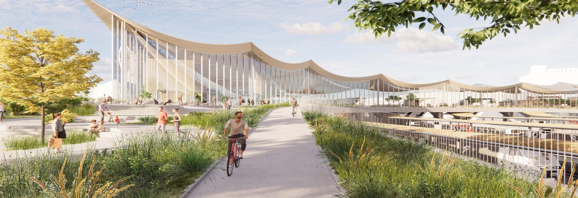 BIG unveils design for Västerås Travel Center with curved timber ceiling