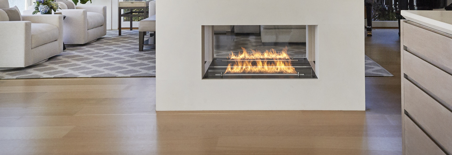 Bioethanol Fireplace open to 4 sides.