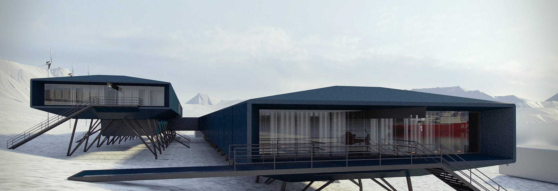 Brazillian firm Estúdio 41 Arquitetura has been working on a new design for the country's Comandante Ferraz Antarctic research centre, which was destroyed in a fire four years ago