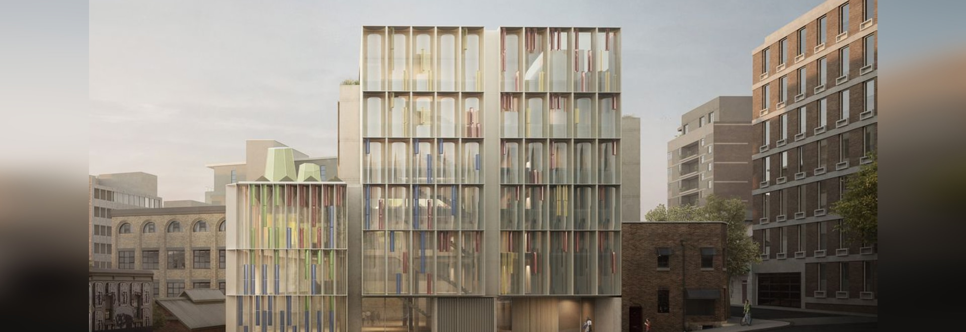 The Candalepas Associates project at 72-84 Foveaux Street will see an existing a 1970s six-storey brick office and retail building adapted into a refurbished office space.