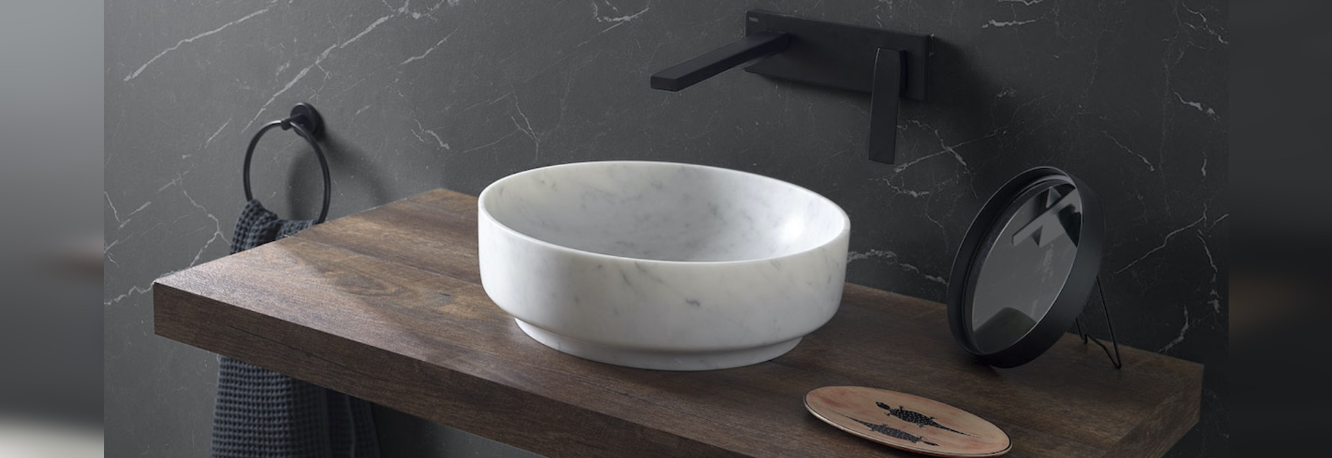 Carrara Marble Counter Top Washbasin