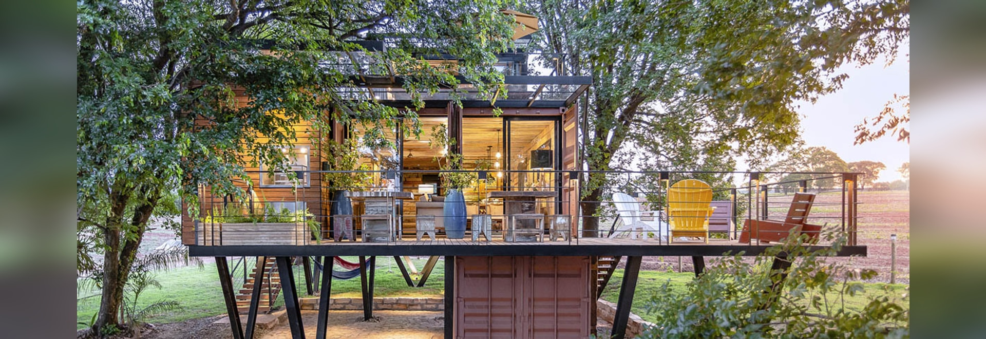 Casa Container Marília Built A Self-Sustained Container House Raised On Metal Pillars In Brazil