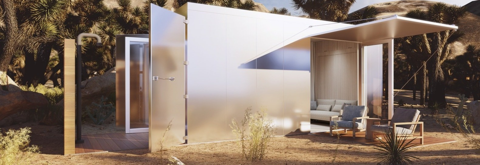 Constructed from a repurposed shipping container, the Buhaus offers 160 square feet of luxury living with off-grid capabilities.