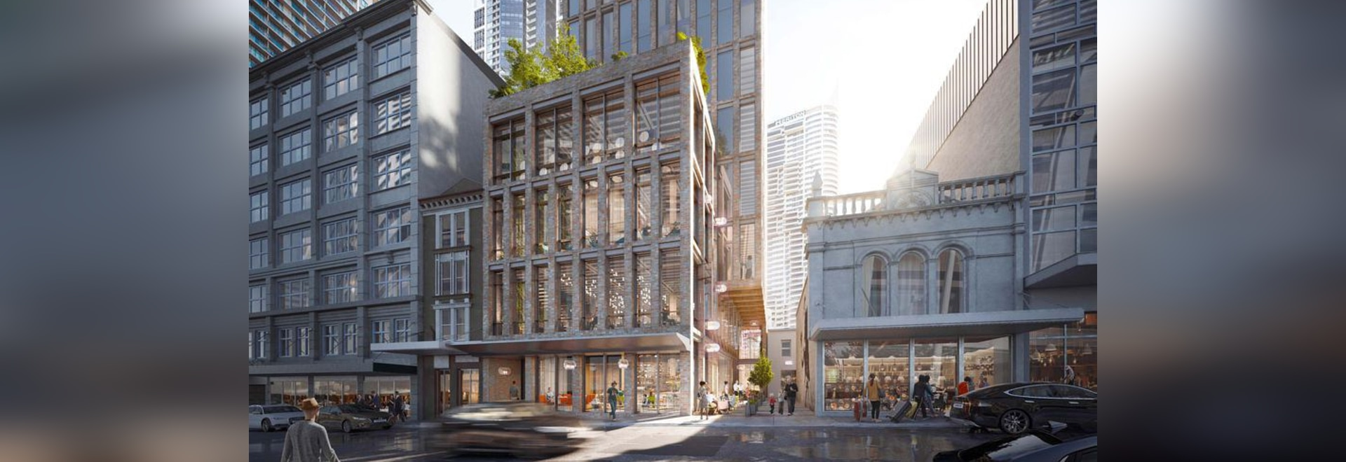 Crone's design for the 35-storey hotel tower at Sydney's Pitt Street.