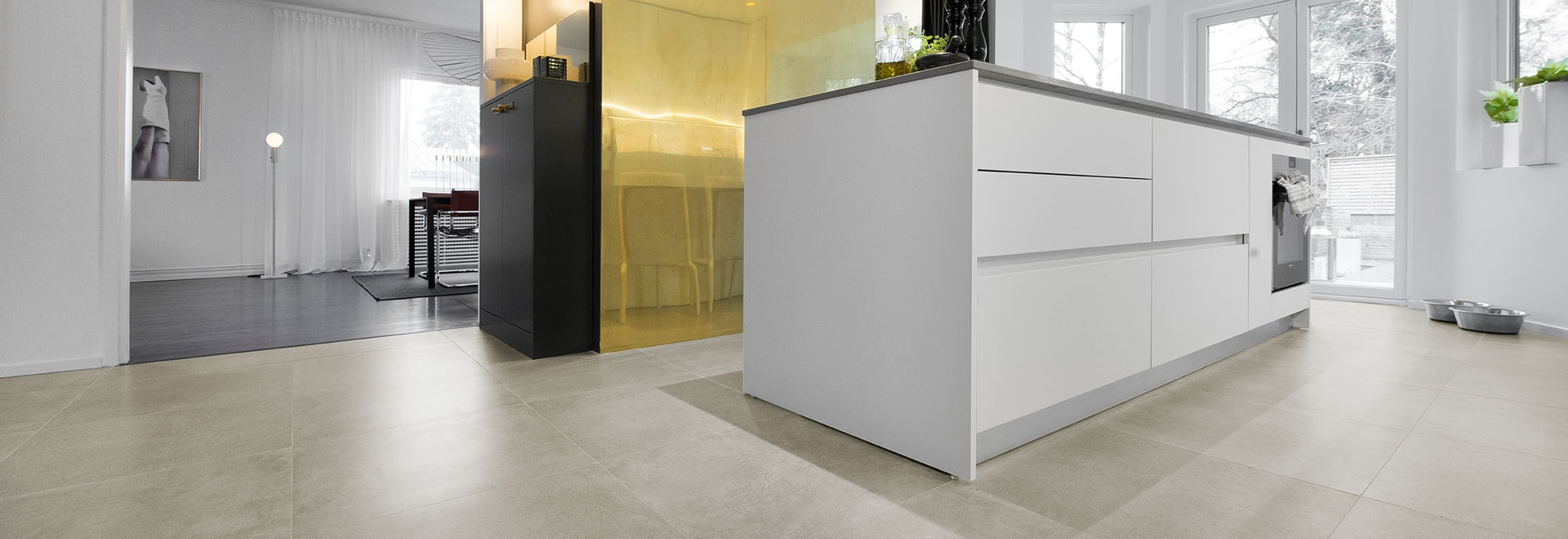 The elegance of Ceramiche Keope porcelain Made in Italy  for a prestigious residential project in Sweden