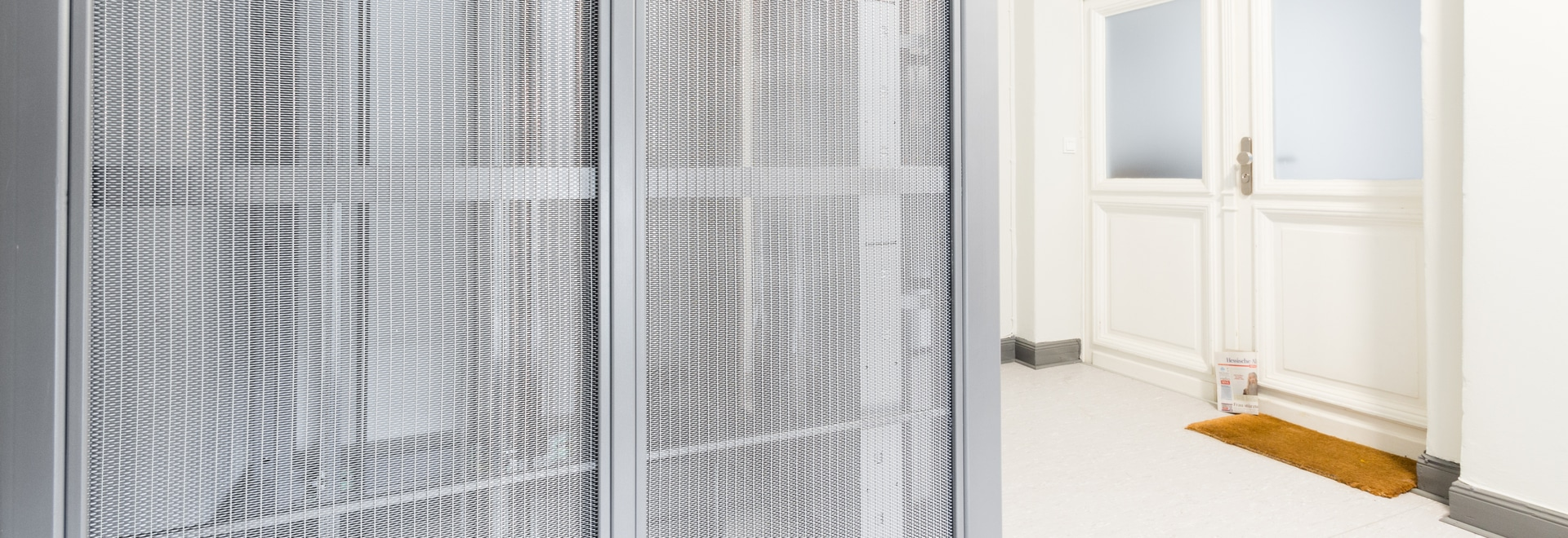 Elevator cladding with stainless steel mesh