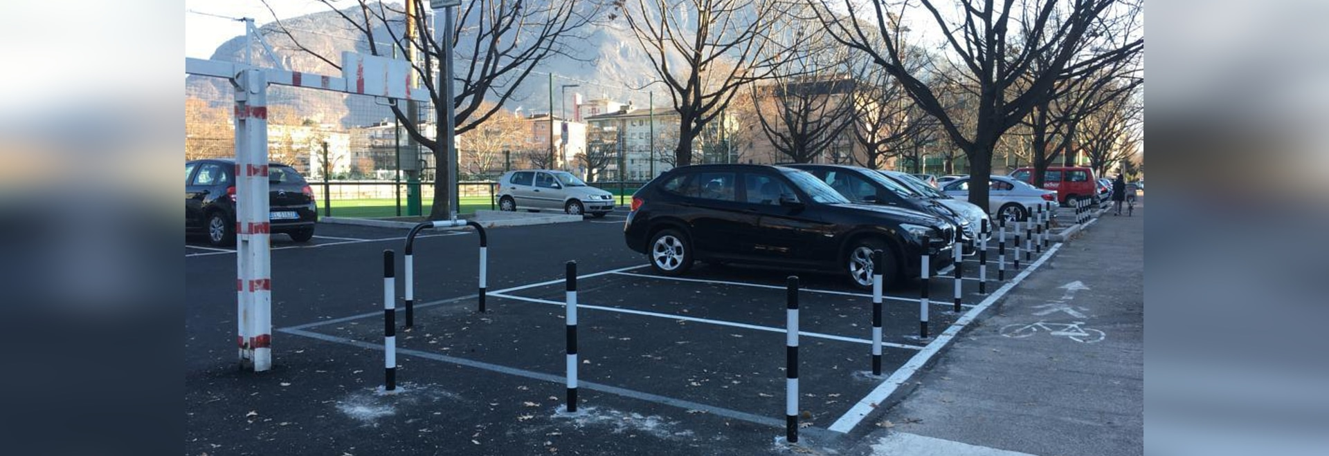Flexible steel bollards. Parking lot