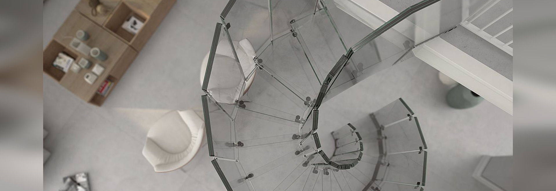 Helical design stairs, glass, glass, glass...
