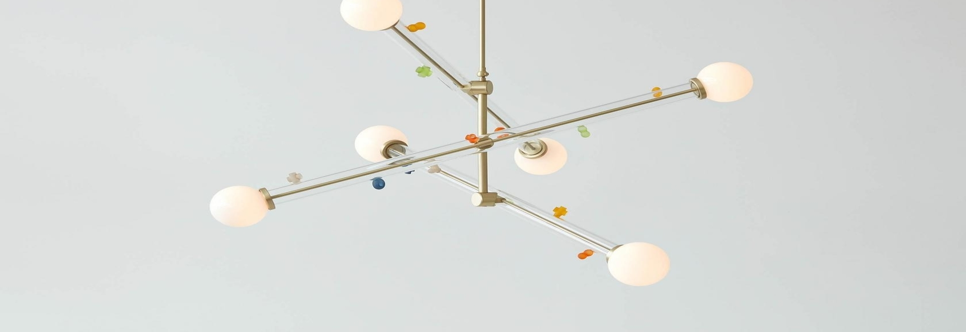 Howdy, Neighbor is a collaboration between New York's Trueing Studio and Japanese glass artist Baku Takahashi. The 'Little World' chandelier, pictured, is 'a reference to the impetus for Takahashi'...