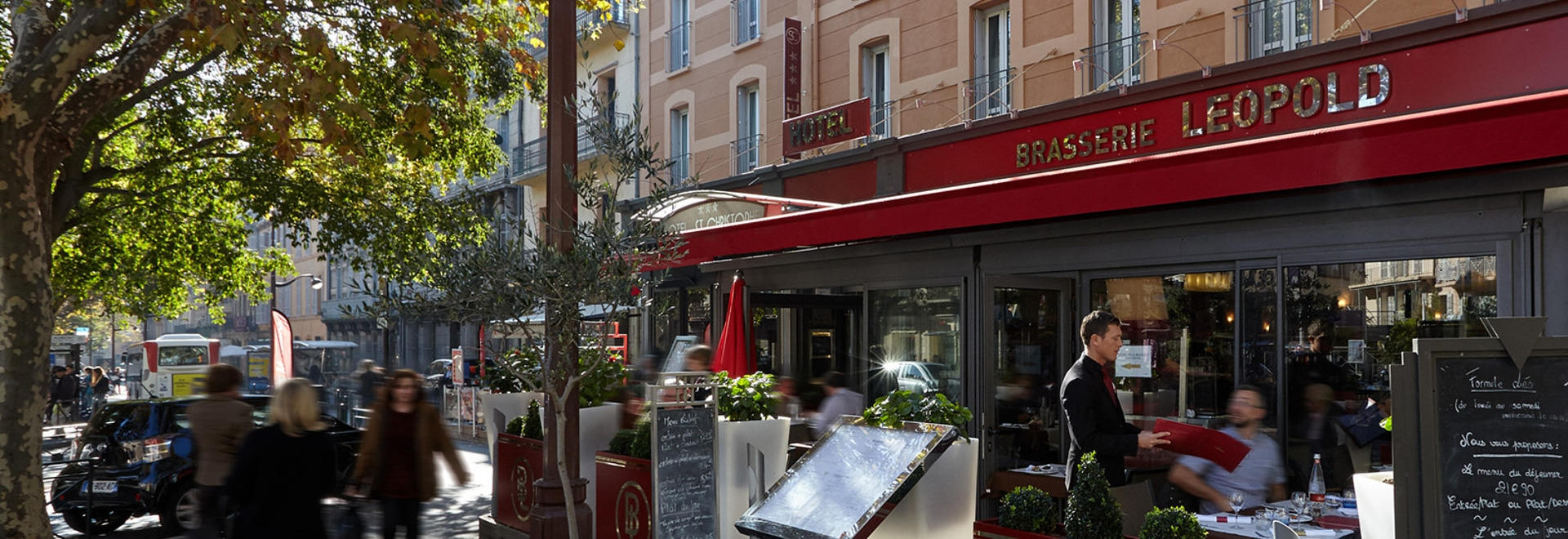 """Image'In bespoke planters personalized for the """"Brasserie Léopold"""""""