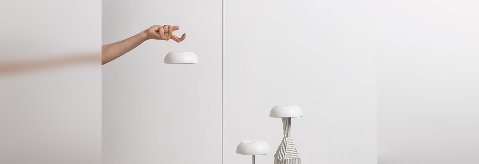 including a table, floor, suspension and wall version, the 'float' light can even be placed on top of a bottle