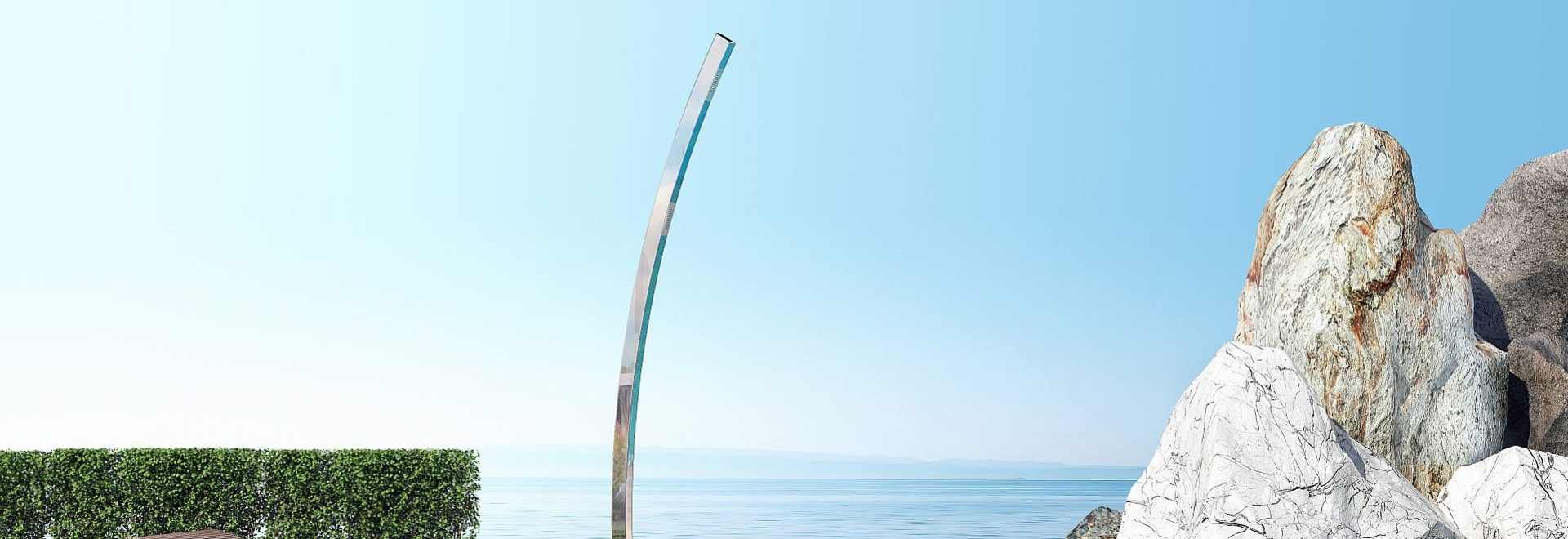 Interlude E - Stainless steel nautical outdoor shower for swimming pool and garden