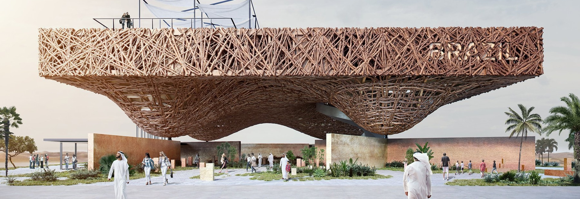 kozlowski + cardia propose a floating pavilion of tree branches for the dubai expo 2020
