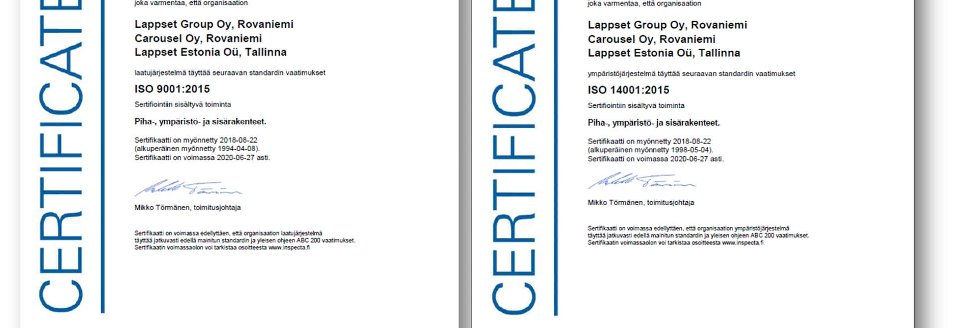 Lappset's quality and environmental management systems were re-audited successfully