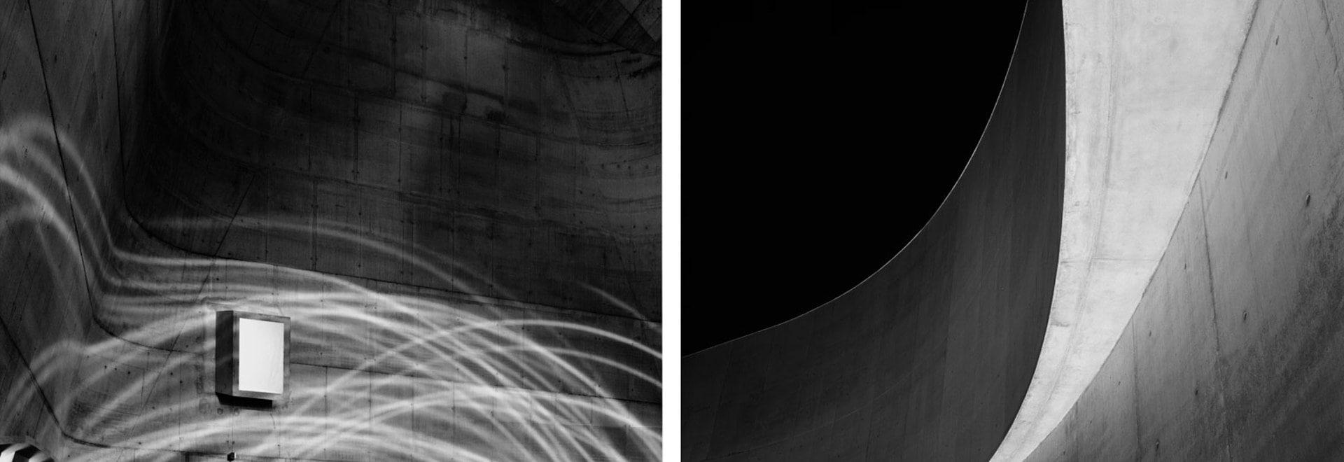 Left: Firminy Church by Le Corbusier (2007). Photography: Hélène Binet, courtesy ammann gallery Right: MAXXI Diptychon by Zaha Hadid (2009). Photography: Hélène Binet, courtesy ammann gallery