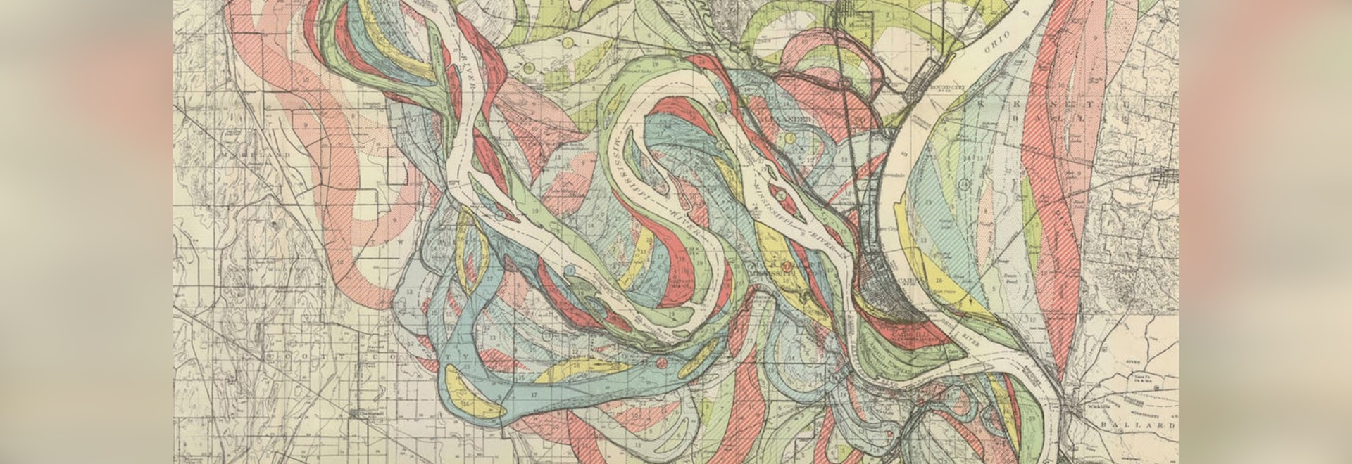 Map of the historical meanders of the Mississippi river (detail), by Harold Fisk, 1944.