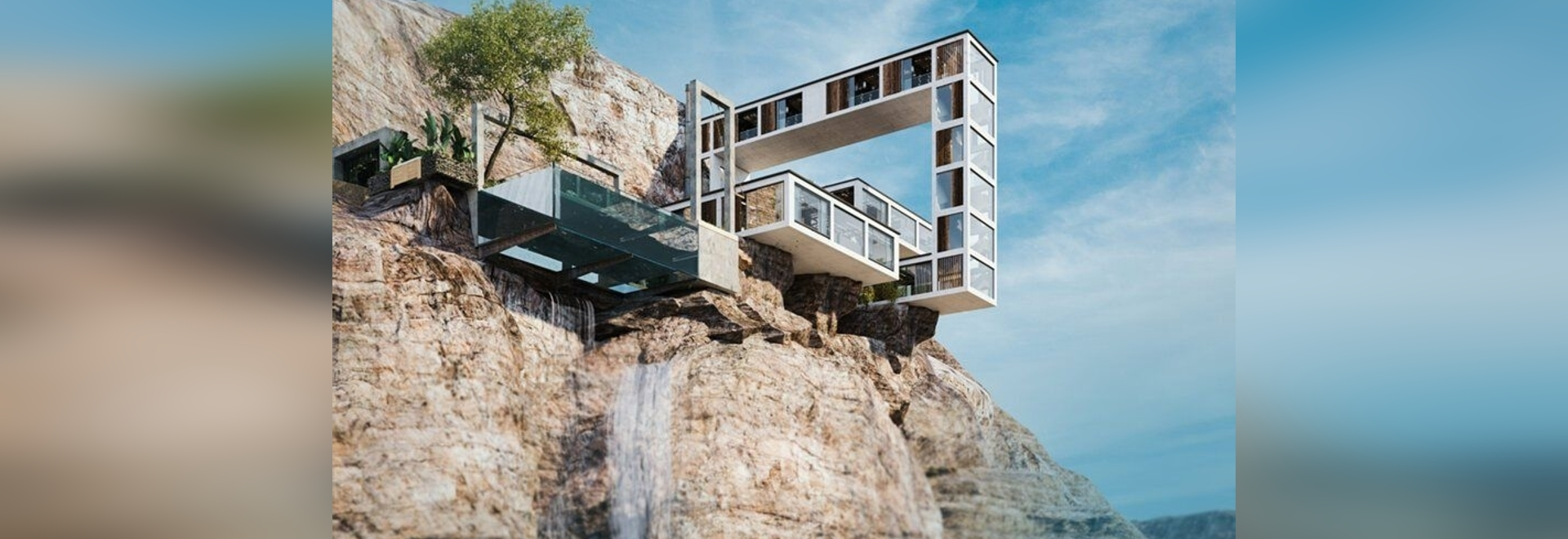 Milad Eshtiyaghi's cantilevering 'mountain house' meanders over a cliff in three dimensions
