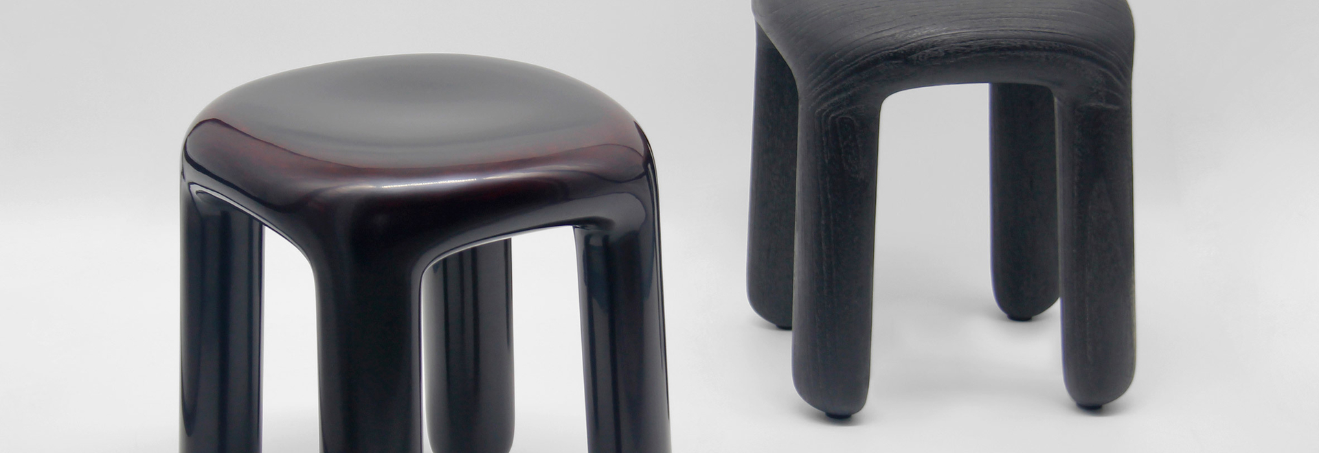 Ming Design Studio made the Bold stools from wood and lacquer