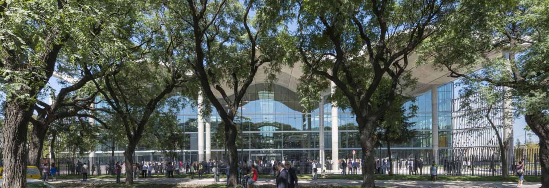 The new city hall's undulating concrete roof peaks through the foliage of the nearby park in the neighborhood of Parque Patricios in Buenos Aires