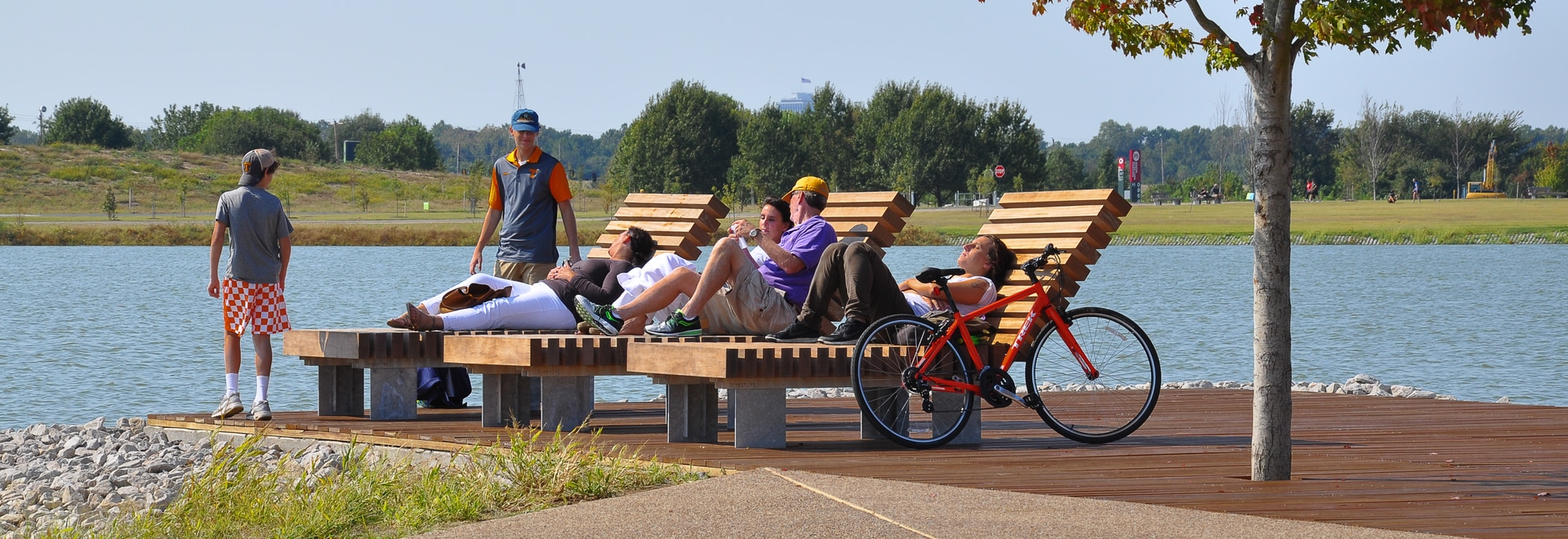 The new R&R Loungers at the waterside of Hyde Lake