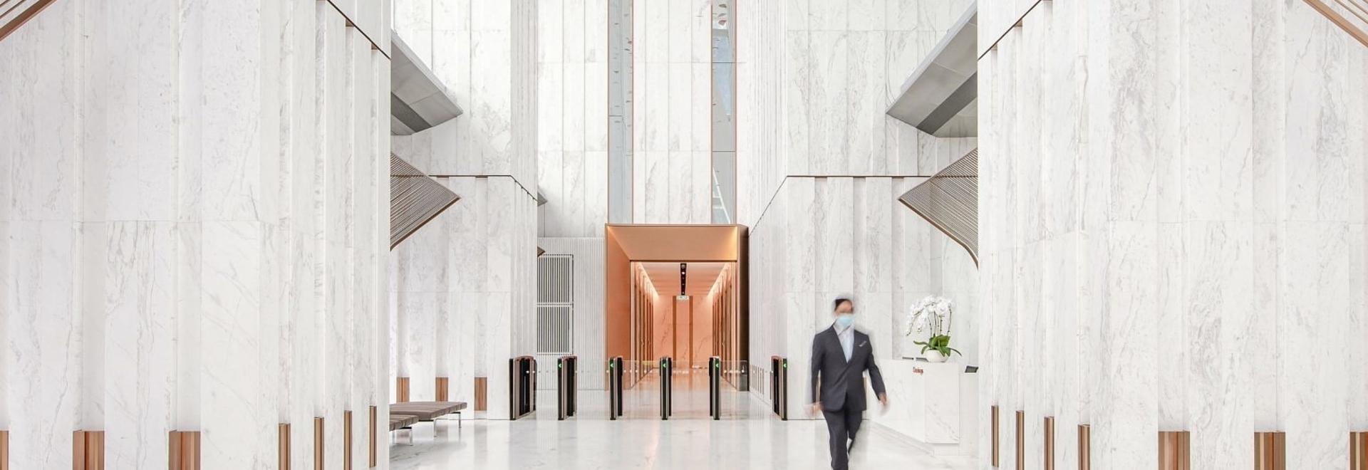 The office's entrance lobby