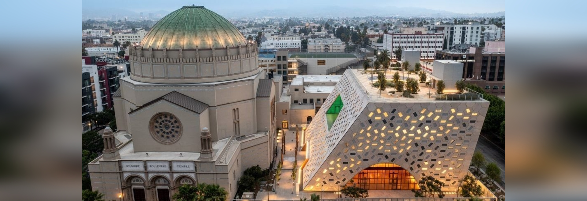 OMA completes its jewish temple in LA, introducing an iconic, radiant monolith