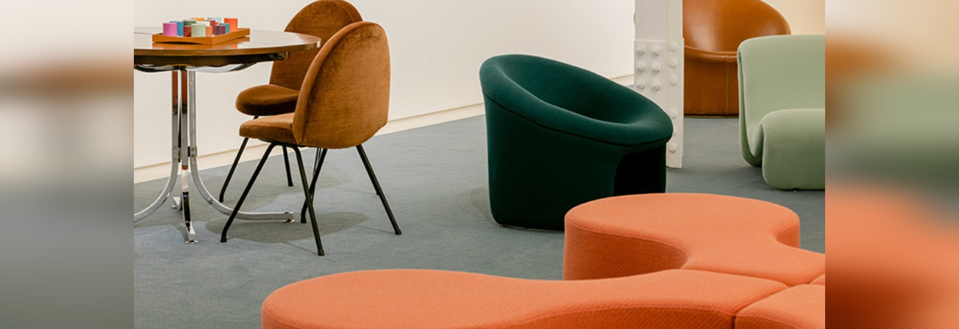 Organic forms, plush velvet, and the colors of the '60s and '70s are all on display.