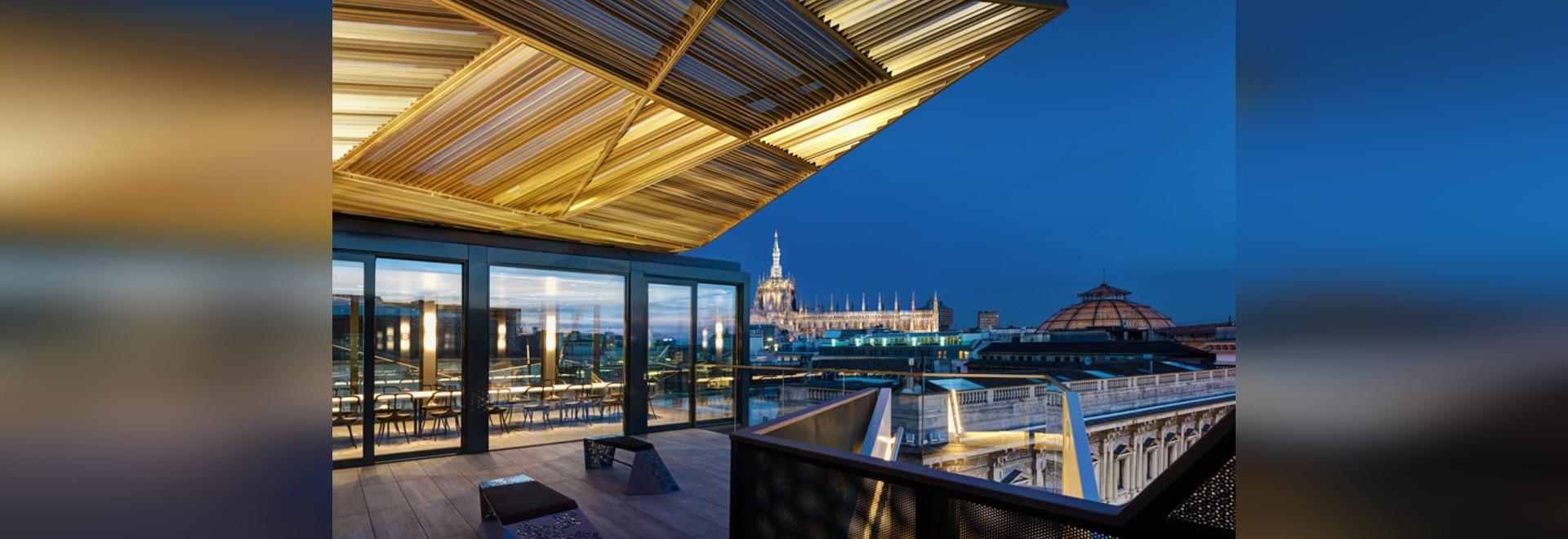 park associati installs modular pop-up restaurant on a milan rooftop