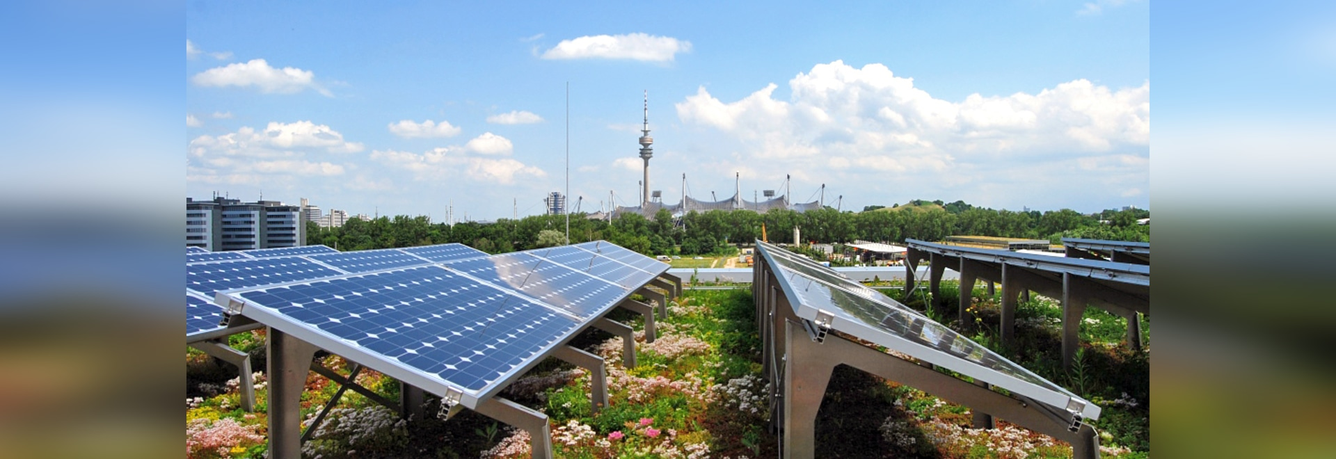 The roof vegetation provides for a cooler ambient temperature and, as a result, for a greater yield from the PV system.