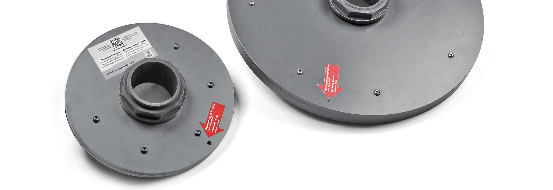 The Run-off Limiters RD 28 (left) and RD 48 (right) seen from above. The red arrow indicates the locking option.