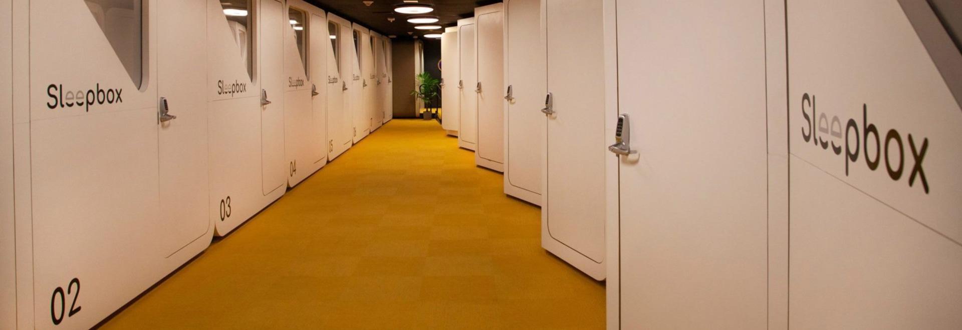 Sleepbox pods installed at Dulles International Airport