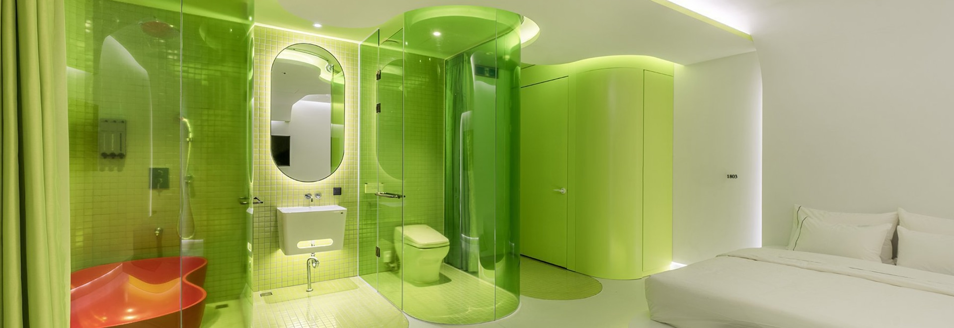 SML's lime-green suite resembles a futuristic spaceship cabin