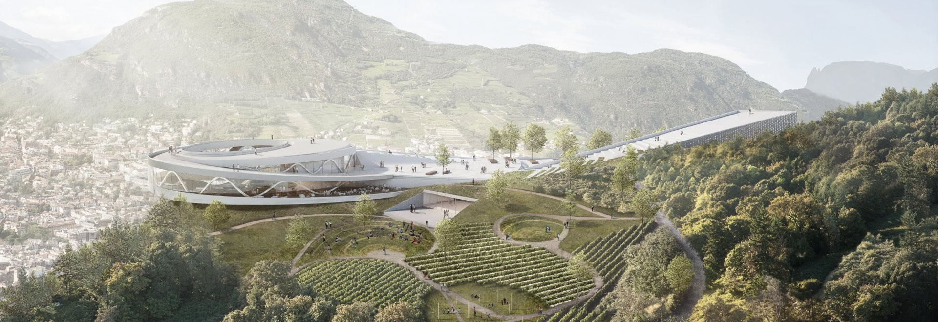 snøhetta proposes mountaintop museum quarter for a city in northern italy