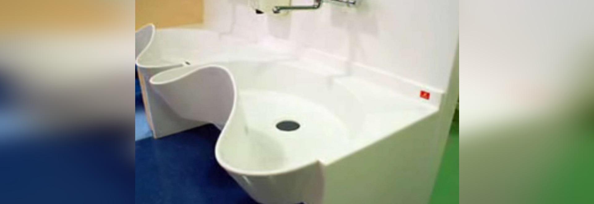 "SolidCare™ Niched/Corner 60"" Medical Scrub Sink"