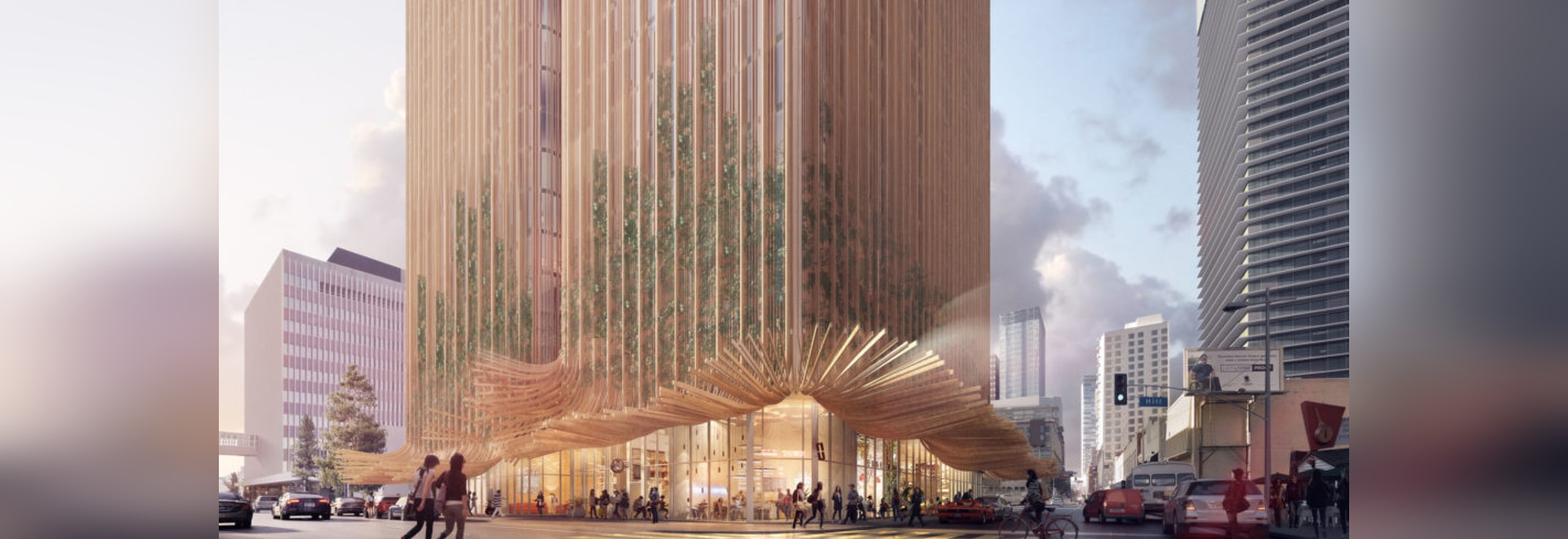 "The striped facade splays out on the ground floor in a nod to both the roots of a California redwood and Marilyn Monroe's ""flying skirt"" moment."